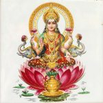 Lakshmi - Hindu goddess of wealth and prosperity sitting on flower of red lotus, India, Asia